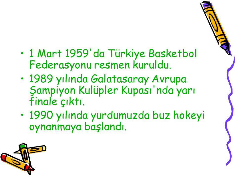 1 Mart 1959 da Türkiye Basketbol Federasyonu resmen kuruldu.