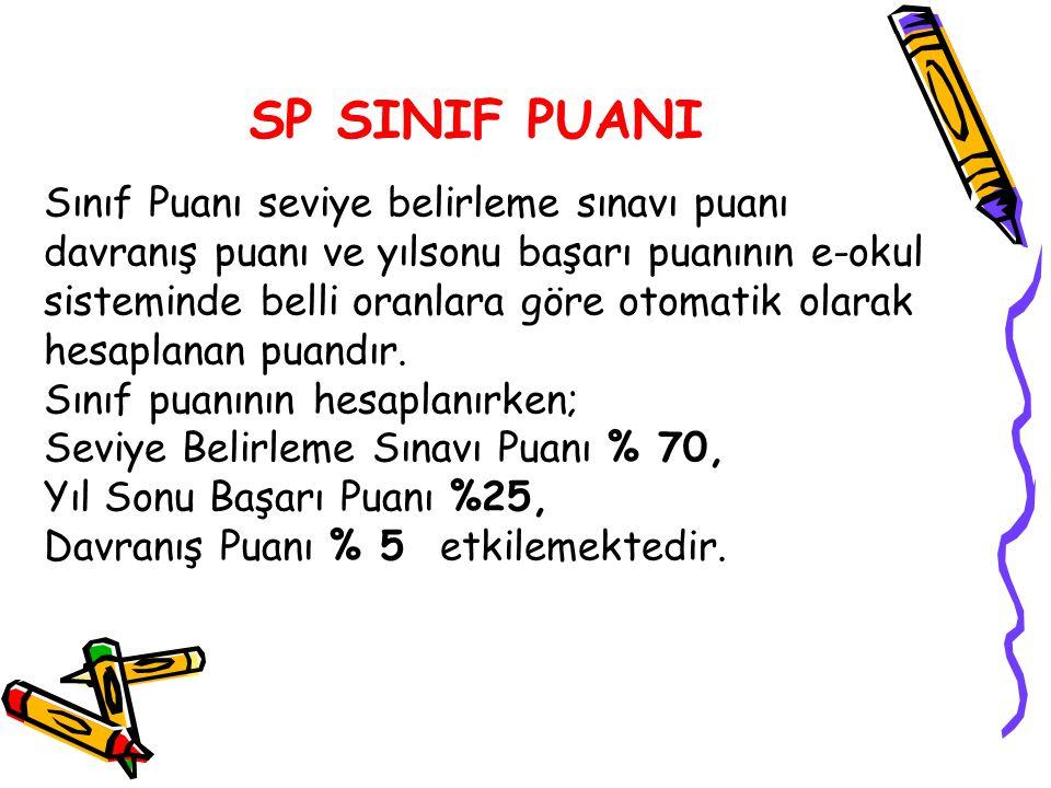 SP SINIF PUANI Sınıf Puanı seviye belirleme sınavı puanı