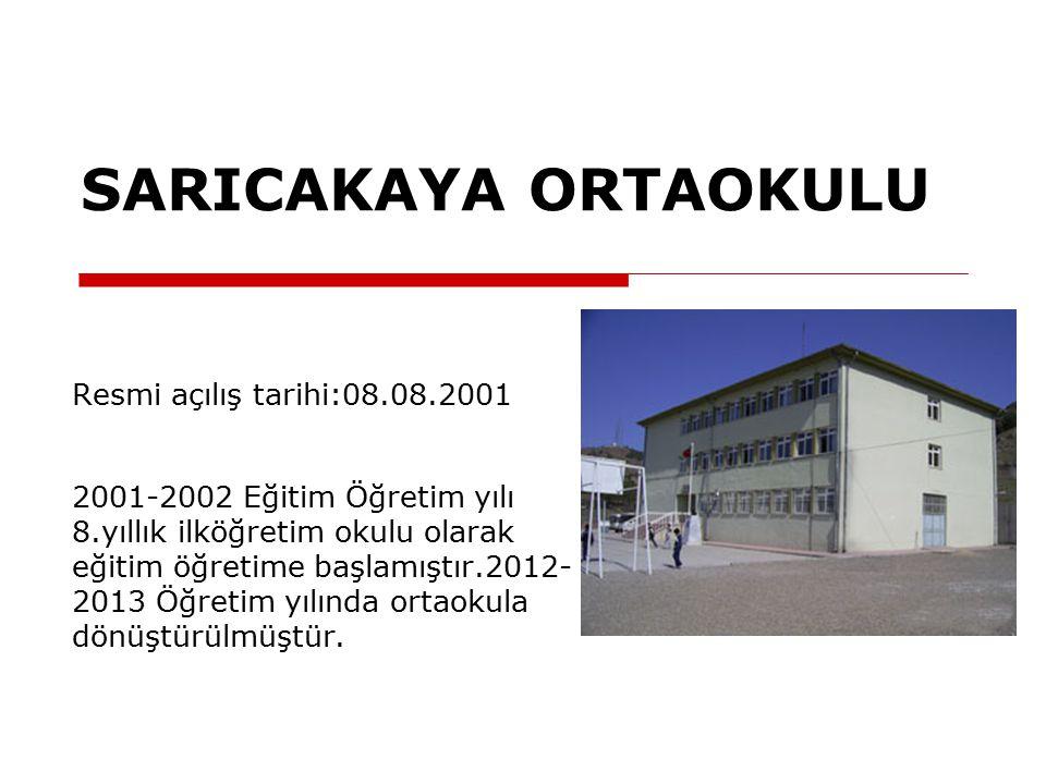 SARICAKAYA ORTAOKULU Resmi açılış tarihi:08.08.2001