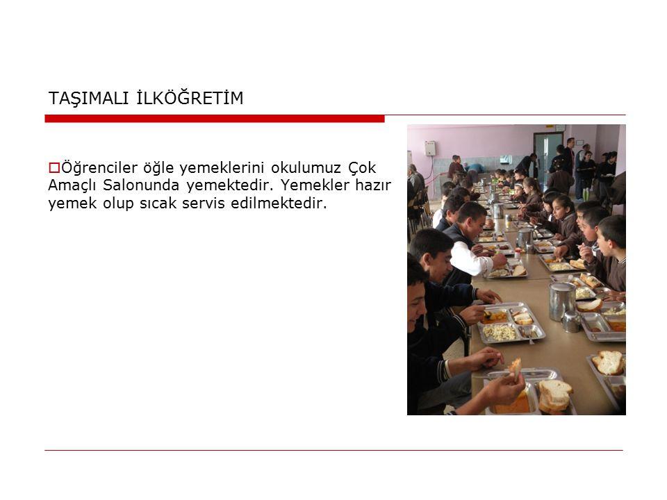 TAŞIMALI İLKÖĞRETİM Öğrenciler öğle yemeklerini okulumuz Çok Amaçlı Salonunda yemektedir.