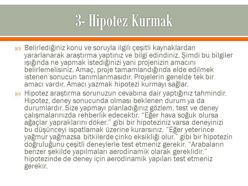 3- Hipotez Kurmak