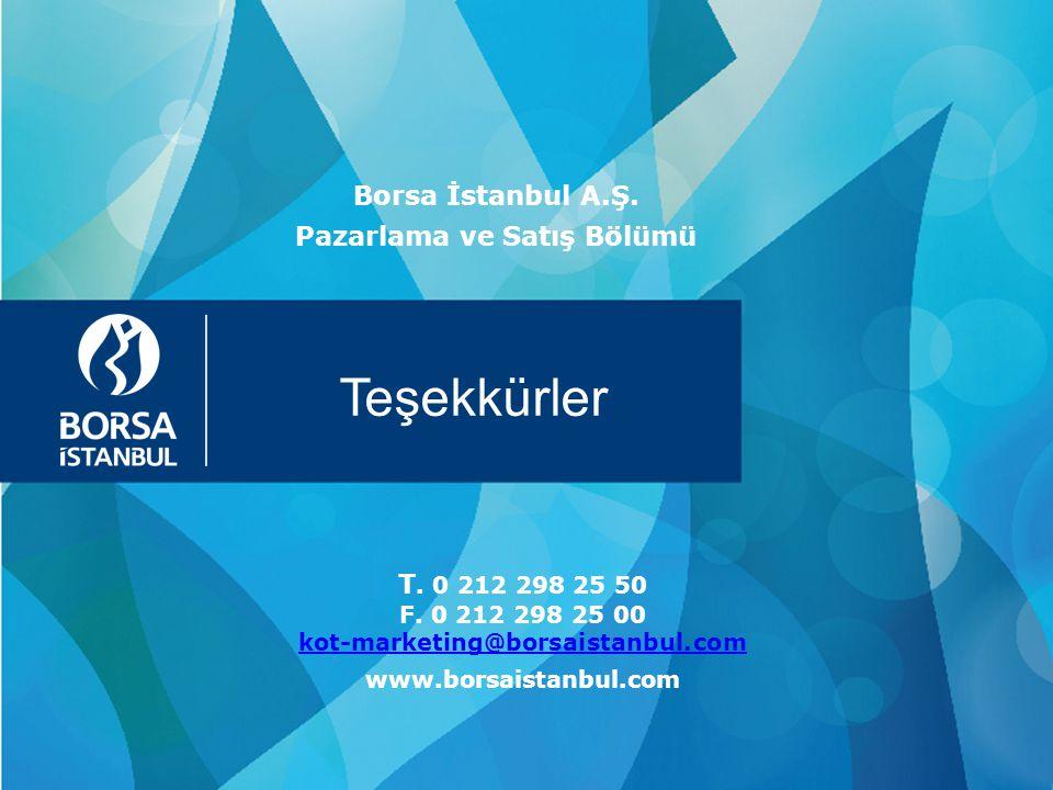 Teşekkürler Borsa İstanbul A.Ş. Pazarlama ve Satış Bölümü