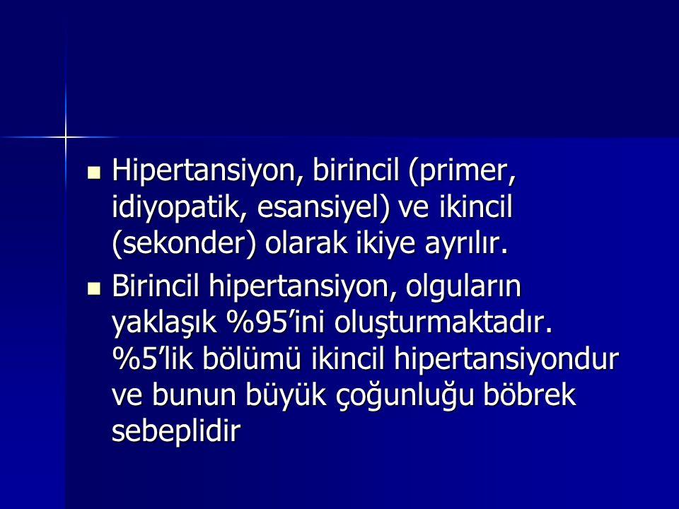 Hipertansiyon, birincil (primer, idiyopatik, esansiyel) ve ikincil (sekonder) olarak ikiye ayrılır.