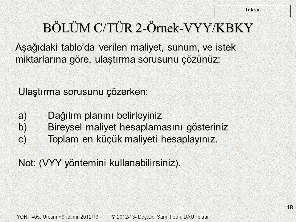 BÖLÜM C/TÜR 2-Örnek-VYY/KBKY