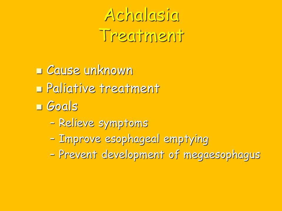 Achalasia Treatment Cause unknown Paliative treatment Goals