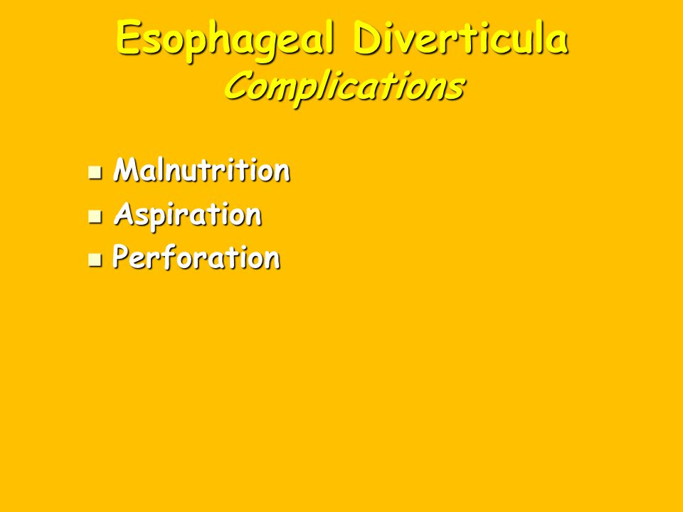 Esophageal Diverticula Complications