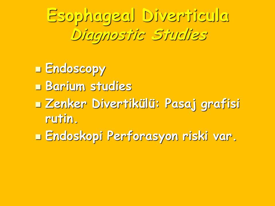 Esophageal Diverticula Diagnostic Studies