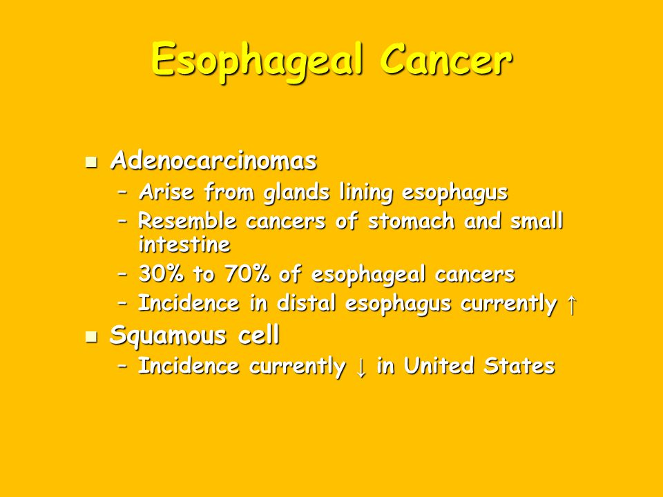 Esophageal Cancer Adenocarcinomas Squamous cell