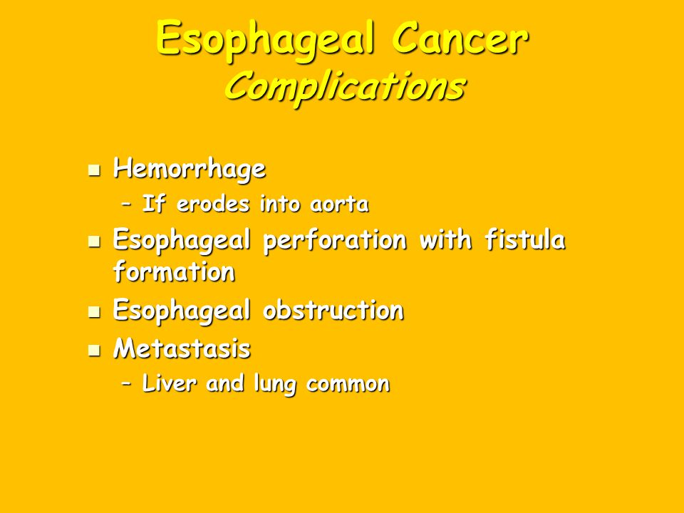 Esophageal Cancer Complications
