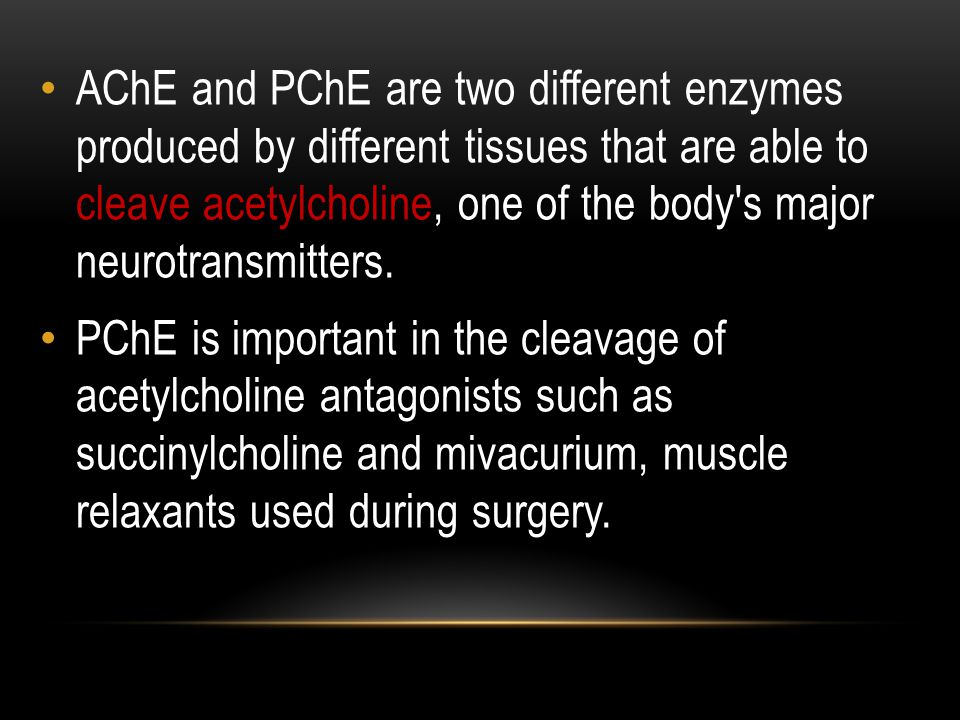 AChE and PChE are two different enzymes produced by different tissues that are able to cleave acetylcholine, one of the body s major neurotransmitters.