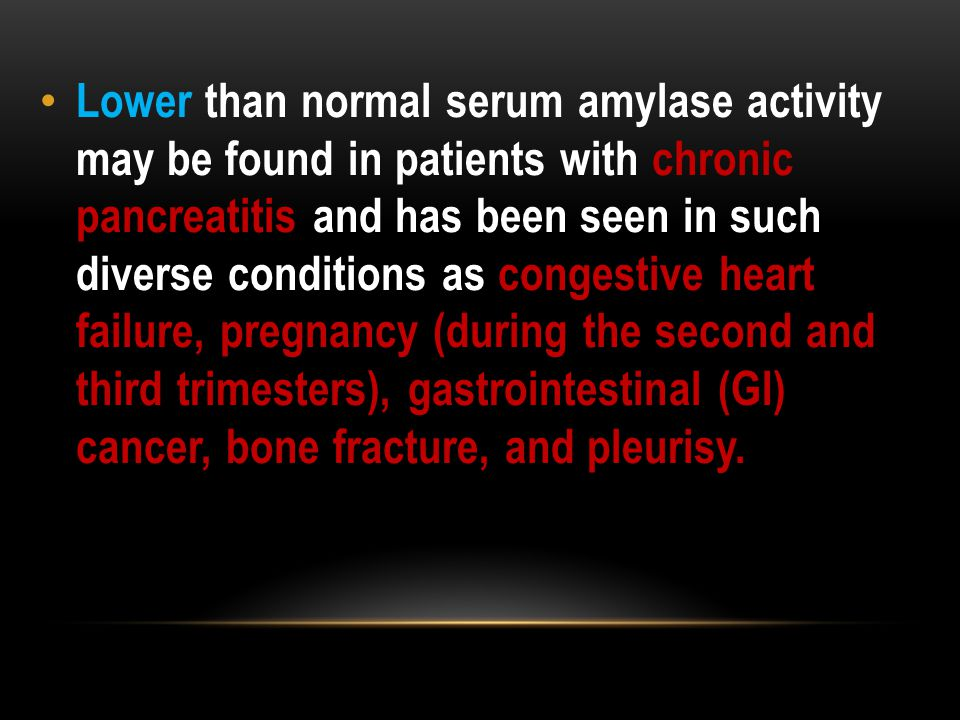 Lower than normal serum amylase activity may be found in patients with chronic pancreatitis and has been seen in such diverse conditions as congestive heart failure, pregnancy (during the second and third trimesters), gastrointestinal (GI) cancer, bone fracture, and pleurisy.