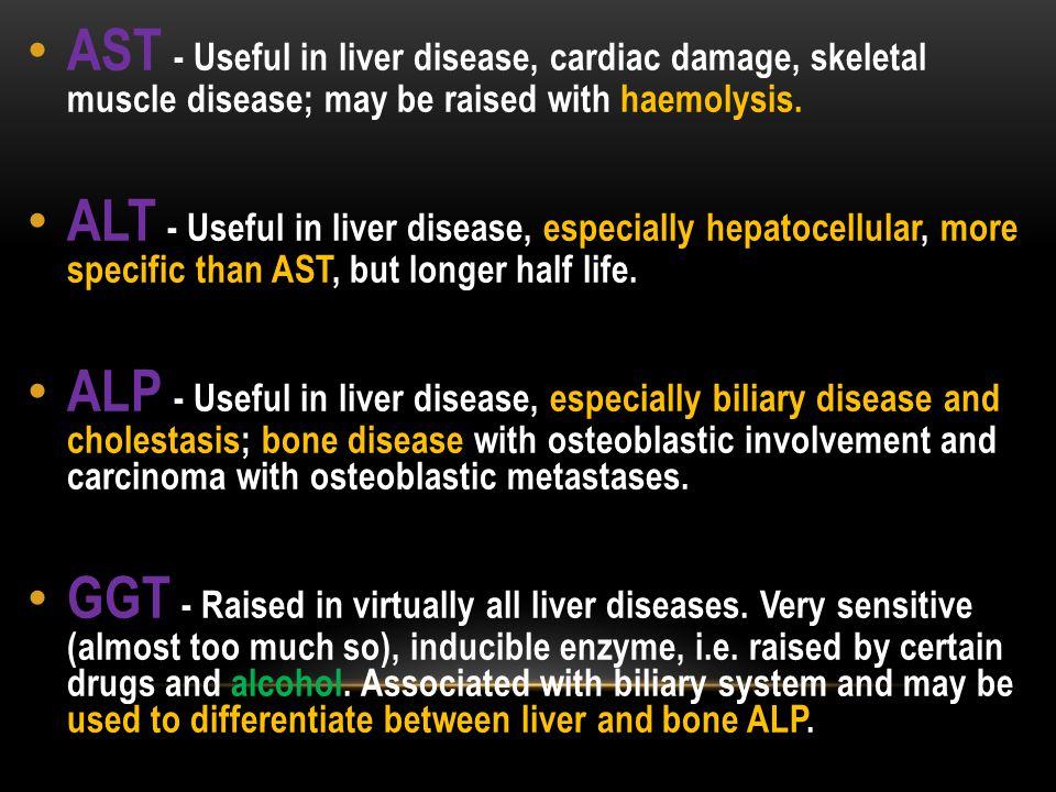 AST - Useful in liver disease, cardiac damage, skeletal muscle disease; may be raised with haemolysis.