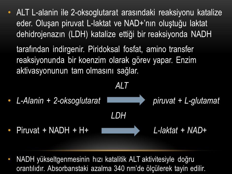 L-Alanin + 2-oksoglutarat piruvat + L-glutamat LDH