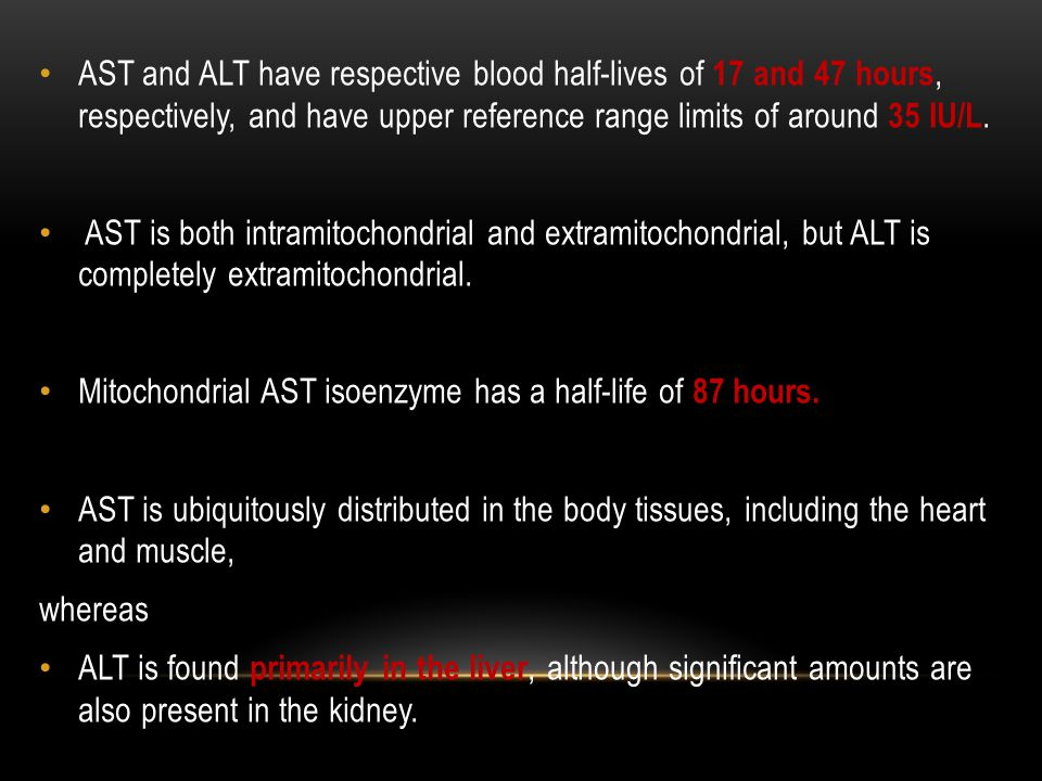 AST and ALT have respective blood half-lives of 17 and 47 hours, respectively, and have upper reference range limits of around 35 IU/L.