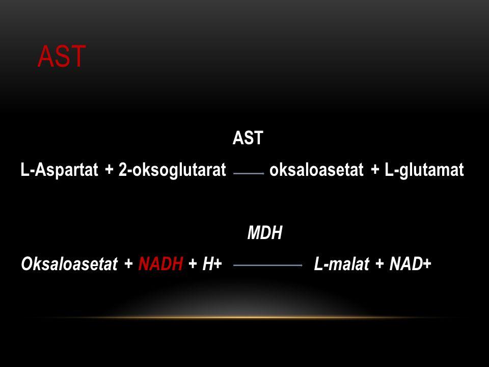 AST AST L-Aspartat + 2-oksoglutarat oksaloasetat + L-glutamat MDH Oksaloasetat + NADH + H+ L-malat + NAD+
