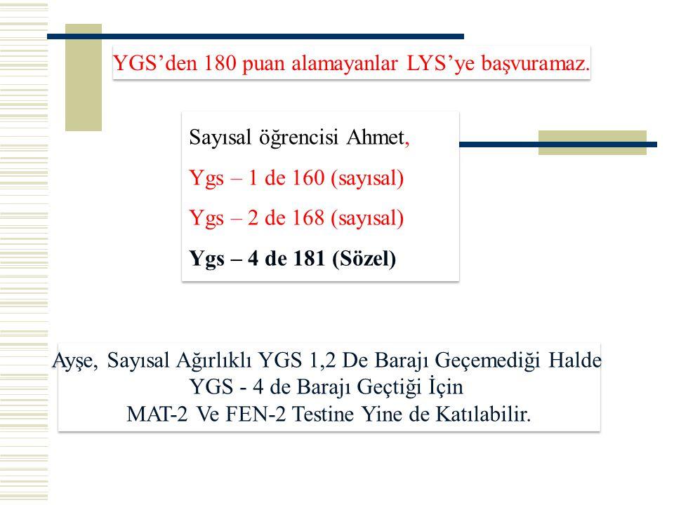 YGS'den 180 puan alamayanlar LYS'ye başvuramaz.