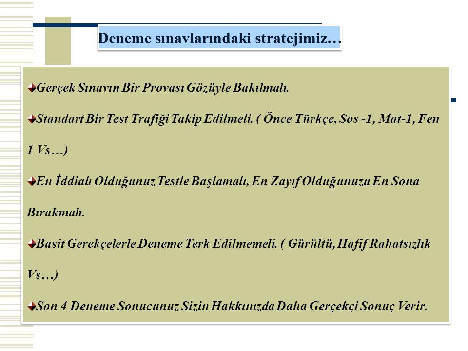 Deneme sınavlarındaki stratejimiz…
