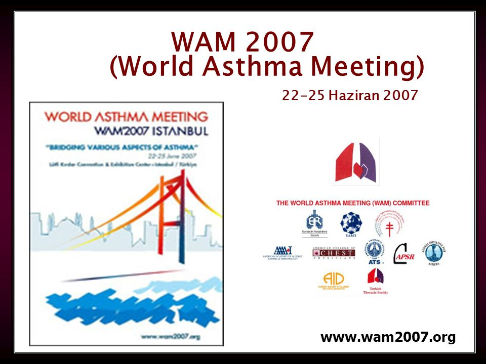 WAM 2007 (World Asthma Meeting) 22-25 Haziran 2007