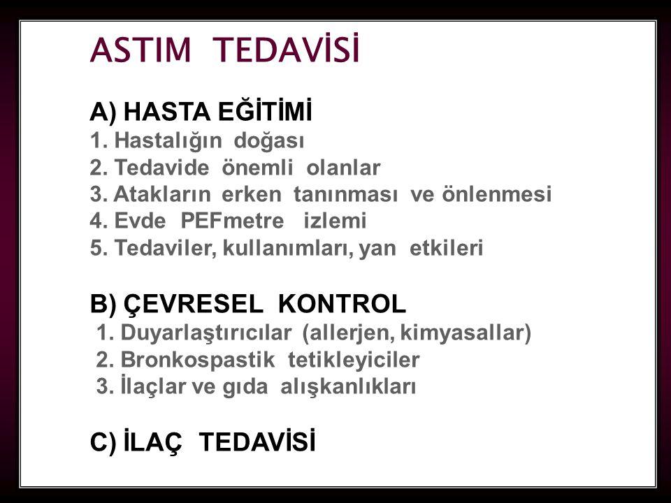 ASTIM TEDAVİSİ A) HASTA EĞİTİMİ B) ÇEVRESEL KONTROL C) İLAÇ TEDAVİSİ