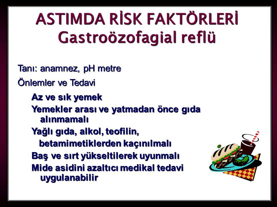 ASTIMDA RİSK FAKTÖRLERİ Gastroözofagial reflü