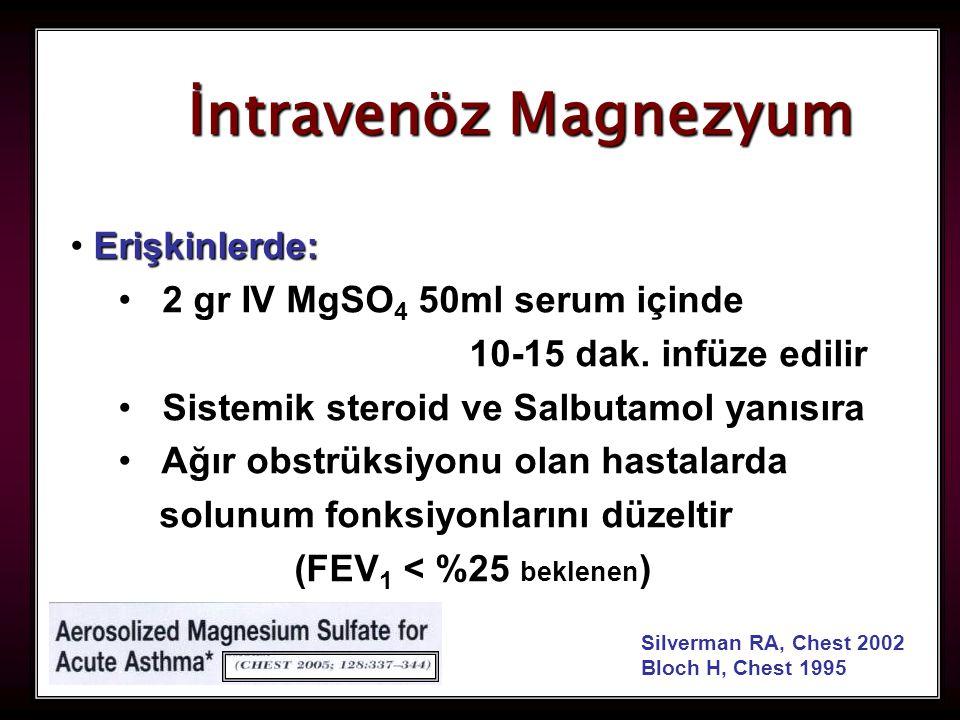 İntravenöz Magnezyum Erişkinlerde: 2 gr IV MgSO4 50ml serum içinde