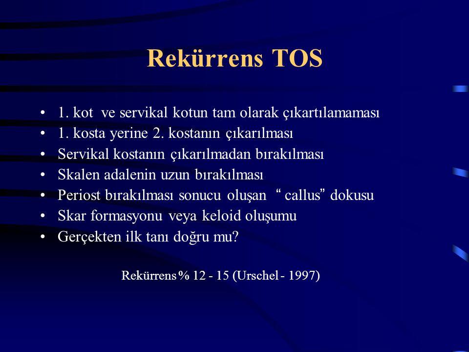 Rekürrens TOS 1. kot ve servikal kotun tam olarak çıkartılamaması