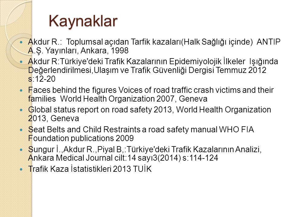 Kaynaklar Akdur R.: Toplumsal açıdan Tarfik kazaları(Halk Sağlığı içinde) ANTIP A.Ş. Yayınları, Ankara, 1998.