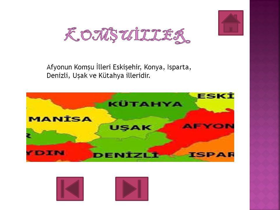 KOMŞU İLLER Afyonun Komşu İlleri Eskişehir, Konya, Isparta, Denizli, Uşak ve Kütahya illeridir.