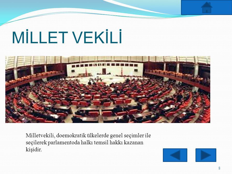 MİLLET VEKİLİ Milletvekili, doemokratik ülkelerde genel seçimler ile seçilerek parlamentoda halkı temsil hakkı kazanan kişidir.