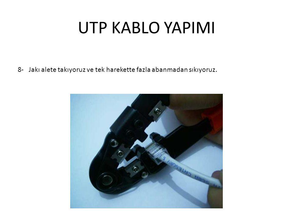 UTP KABLO YAPIMI 8- Jakı alete takıyoruz ve tek harekette fazla abanmadan sıkıyoruz.