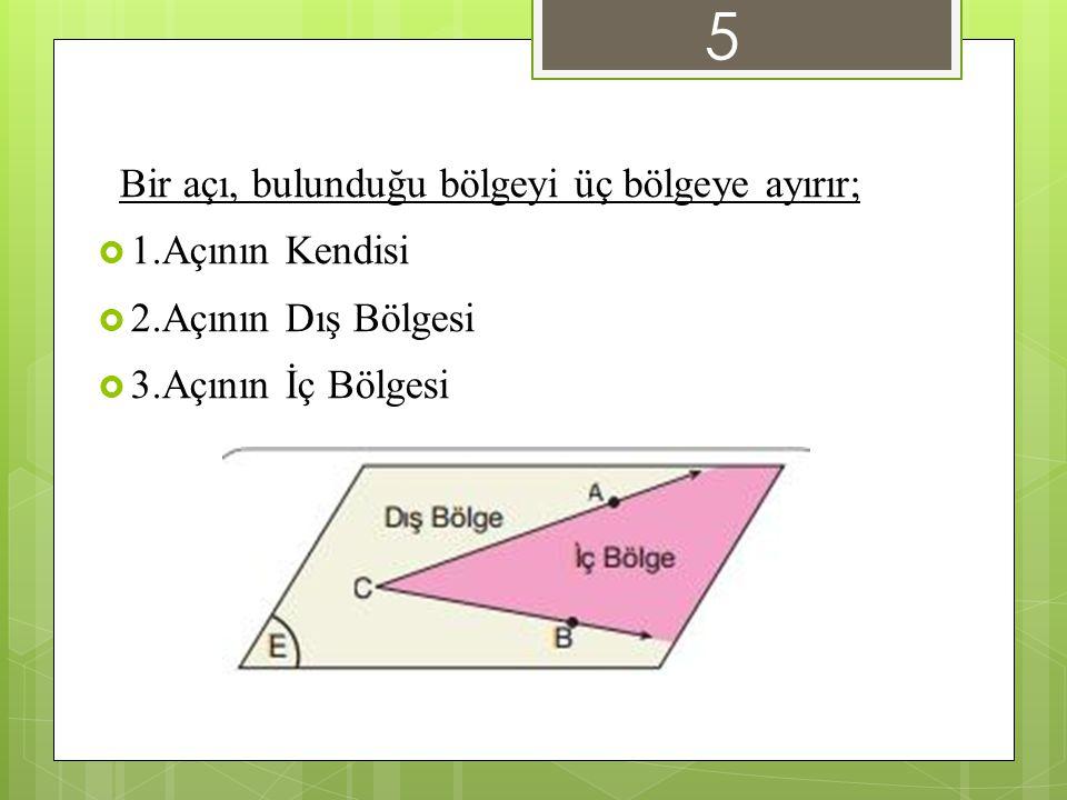 Bir açı, bulunduğu bölgeyi üç bölgeye ayırır;