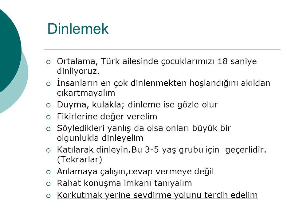 Dinlemek Ortalama, Türk ailesinde çocuklarımızı 18 saniye dinliyoruz.