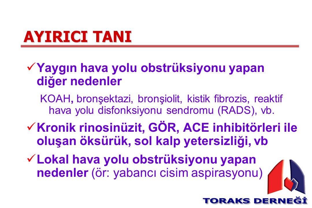 AYIRICI TANI Yaygın hava yolu obstrüksiyonu yapan diğer nedenler
