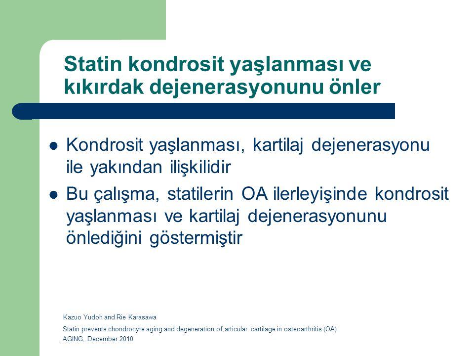 Statin kondrosit yaşlanması ve kıkırdak dejenerasyonunu önler