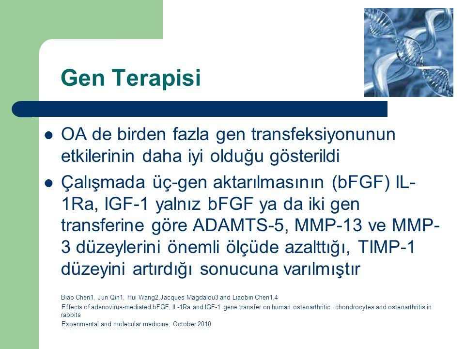 Gen Terapisi OA de birden fazla gen transfeksiyonunun etkilerinin daha iyi olduğu gösterildi.
