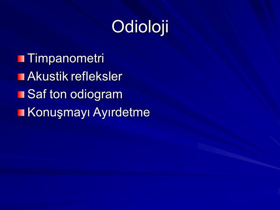 Odioloji Timpanometri Akustik refleksler Saf ton odiogram