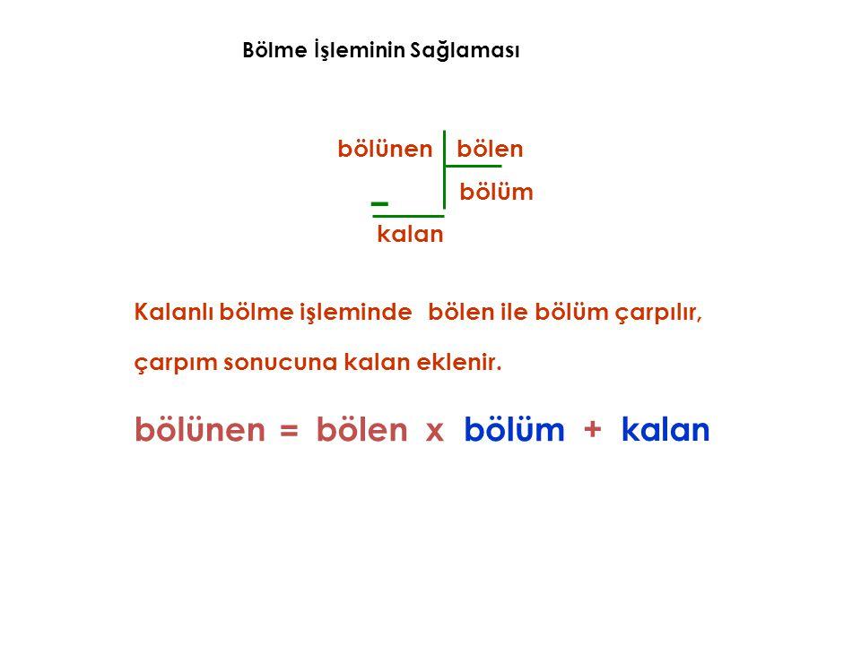 – bölünen = bölen x bölüm + kalan bölünen bölen bölüm kalan
