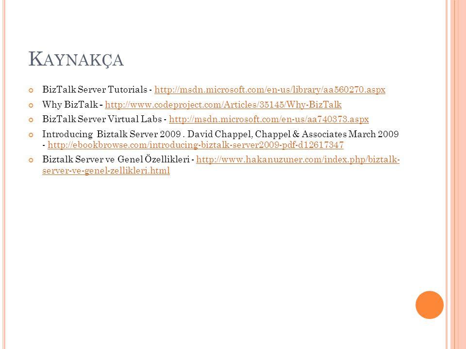 Kaynakça BizTalk Server Tutorials - http://msdn.microsoft.com/en-us/library/aa560270.aspx.