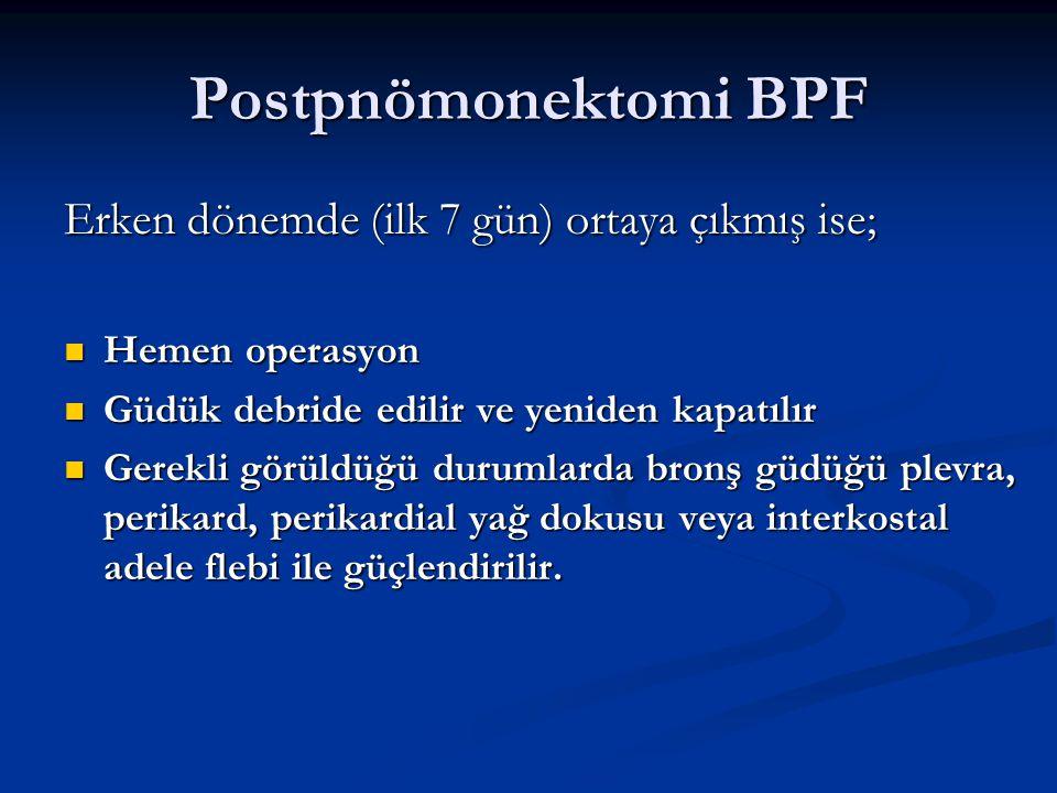 Postpnömonektomi BPF Erken dönemde (ilk 7 gün) ortaya çıkmış ise;
