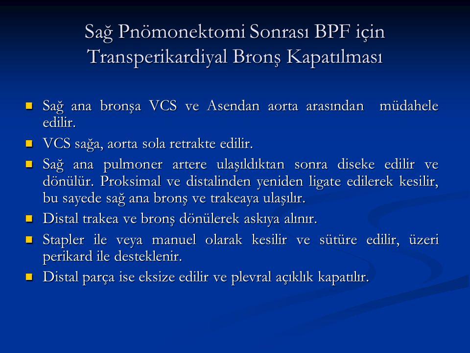 Sağ Pnömonektomi Sonrası BPF için Transperikardiyal Bronş Kapatılması