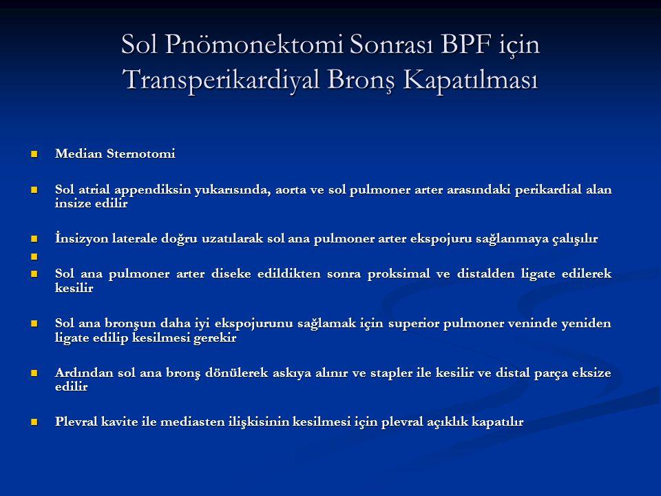 Sol Pnömonektomi Sonrası BPF için Transperikardiyal Bronş Kapatılması