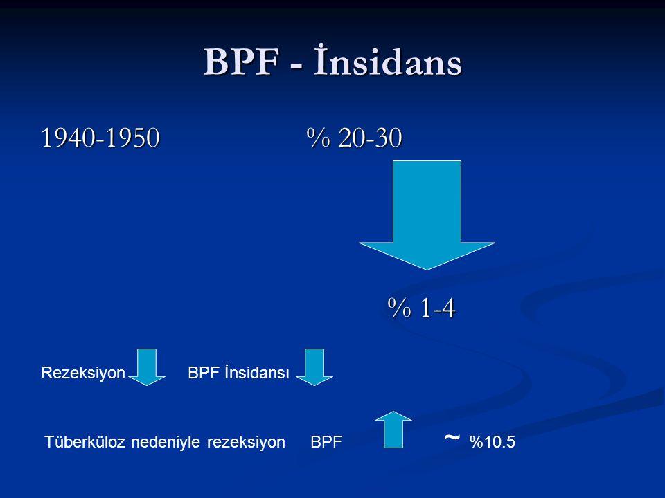 BPF - İnsidans 1940-1950 % 20-30 % 1-4 Rezeksiyon BPF İnsidansı