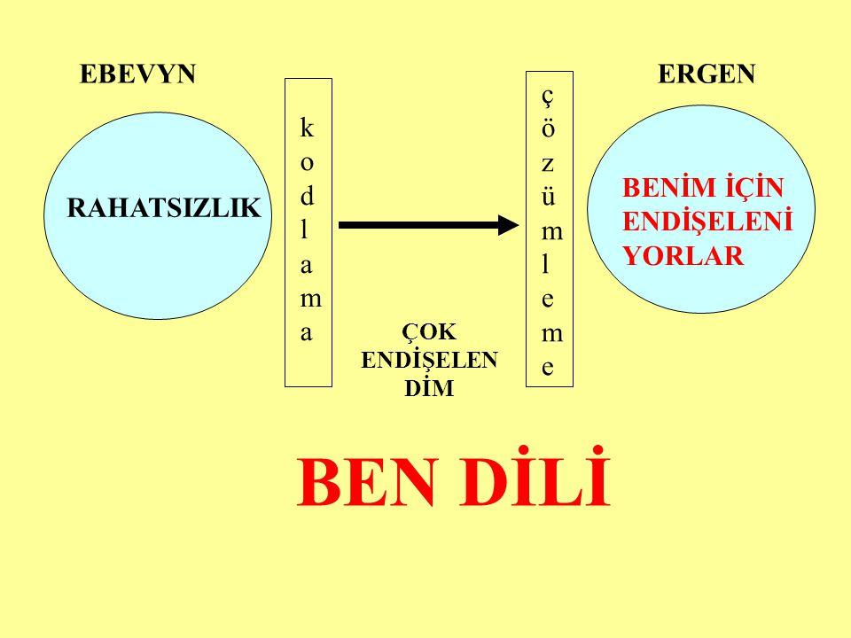 BEN DİLİ EBEVYN ERGEN çözümleme kodlama BENİM İÇİN ENDİŞELENİYORLAR