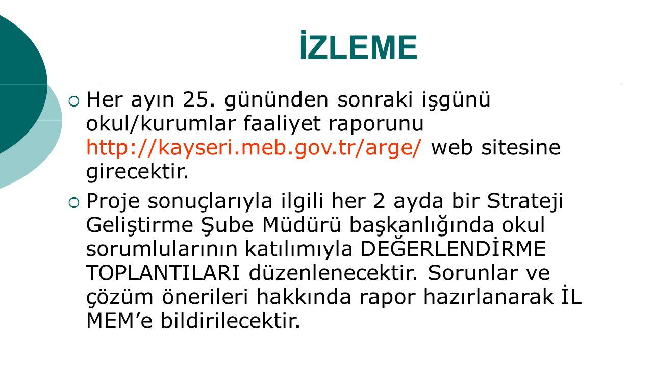İZLEME Her ayın 25. gününden sonraki işgünü okul/kurumlar faaliyet raporunu http://kayseri.meb.gov.tr/arge/ web sitesine girecektir.