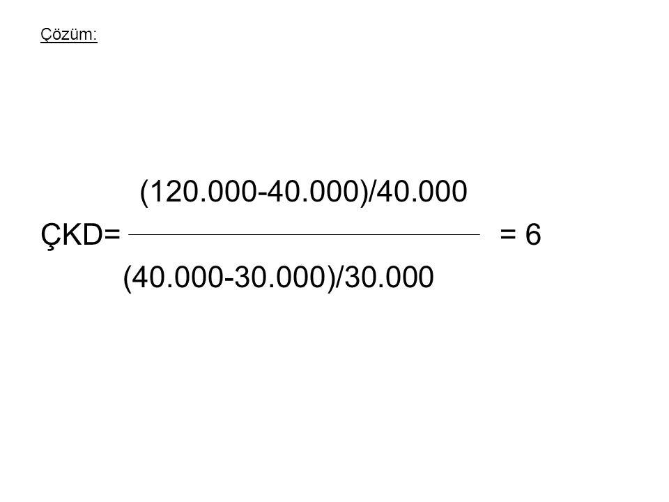 Çözüm: (120.000-40.000)/40.000. ÇKD= = 6.