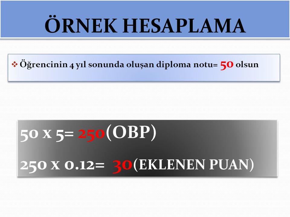 ÖRNEK HESAPLAMA 50 x 5= 250(OBP) 250 x 0.12= 30(EKLENEN PUAN)
