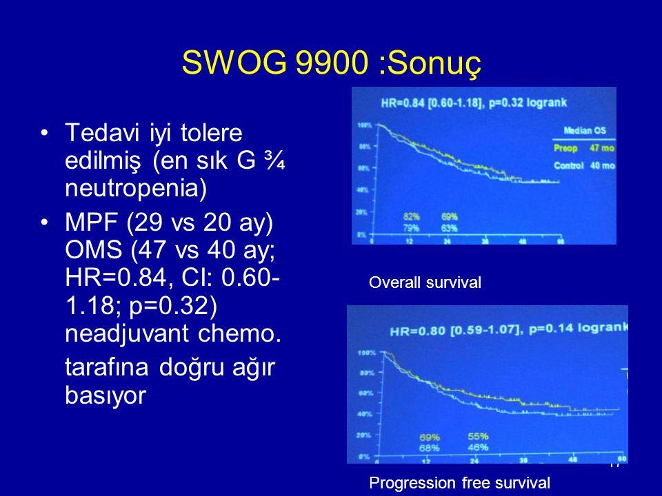 SWOG 9900 :Sonuç Tedavi iyi tolere edilmiş (en sık G ¾ neutropenia)