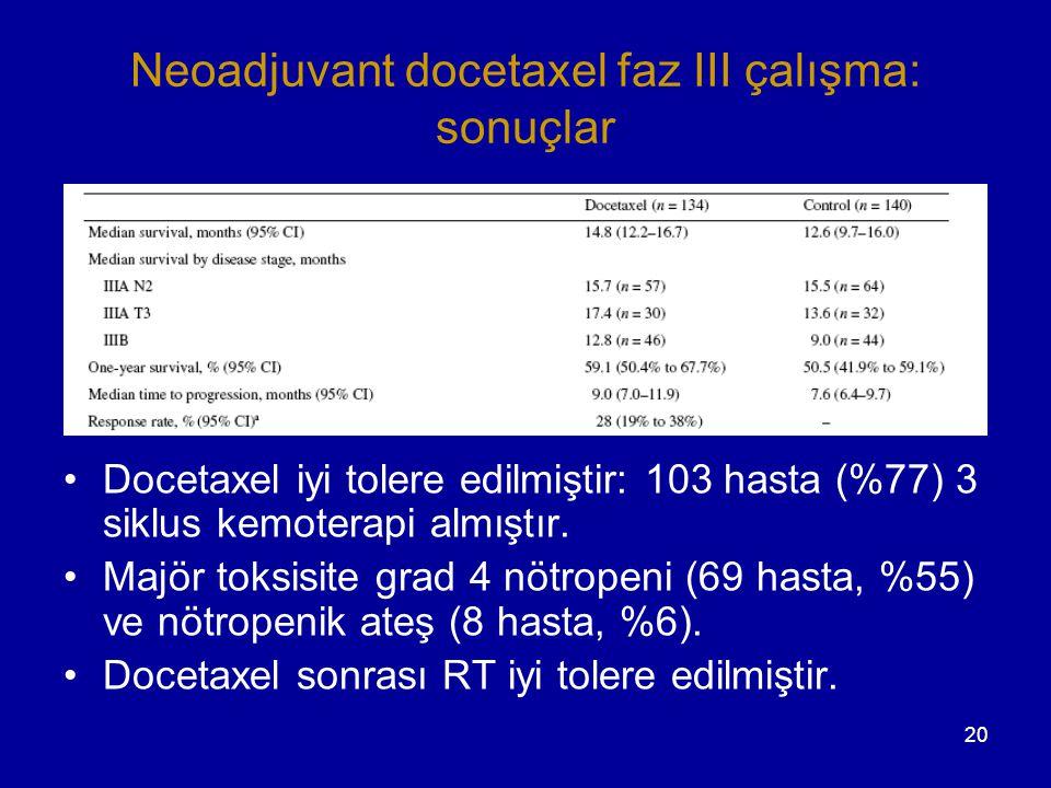 Neoadjuvant docetaxel faz III çalışma: sonuçlar