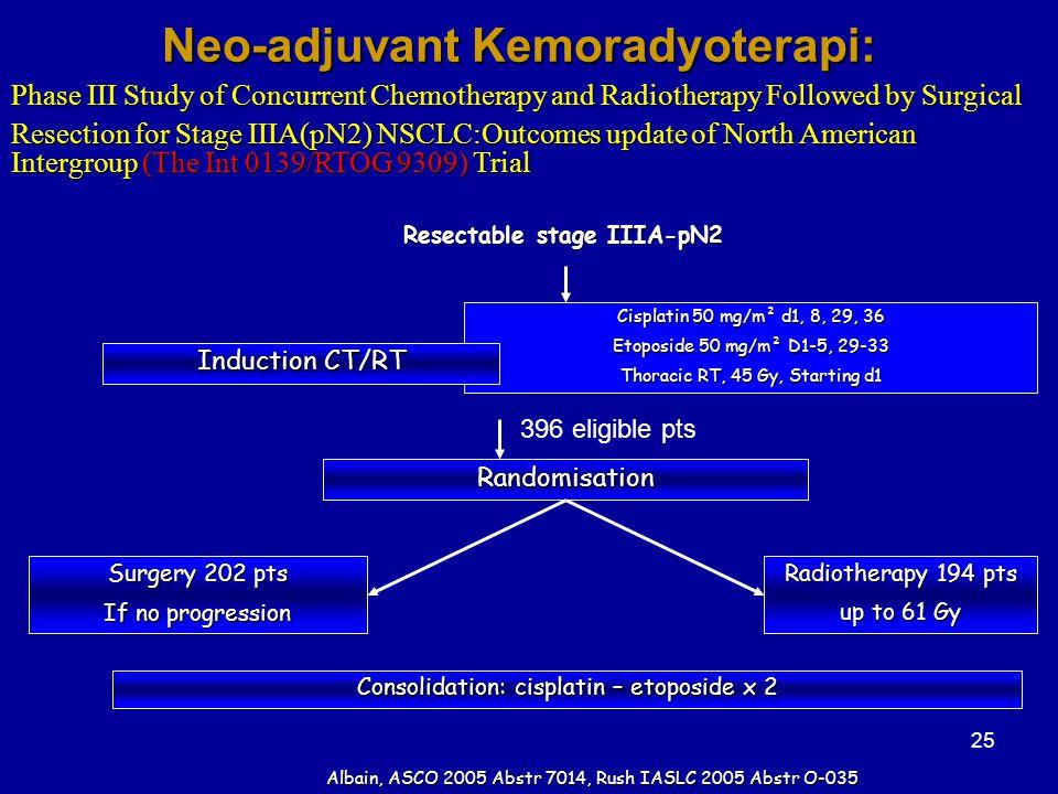 Neo-adjuvant Kemoradyoterapi: Resectable stage IIIA-pN2