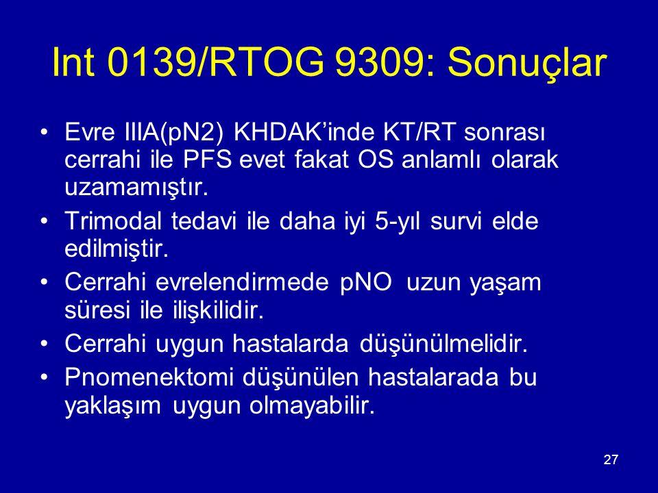 Int 0139/RTOG 9309: Sonuçlar Evre IIIA(pN2) KHDAK'inde KT/RT sonrası cerrahi ile PFS evet fakat OS anlamlı olarak uzamamıştır.